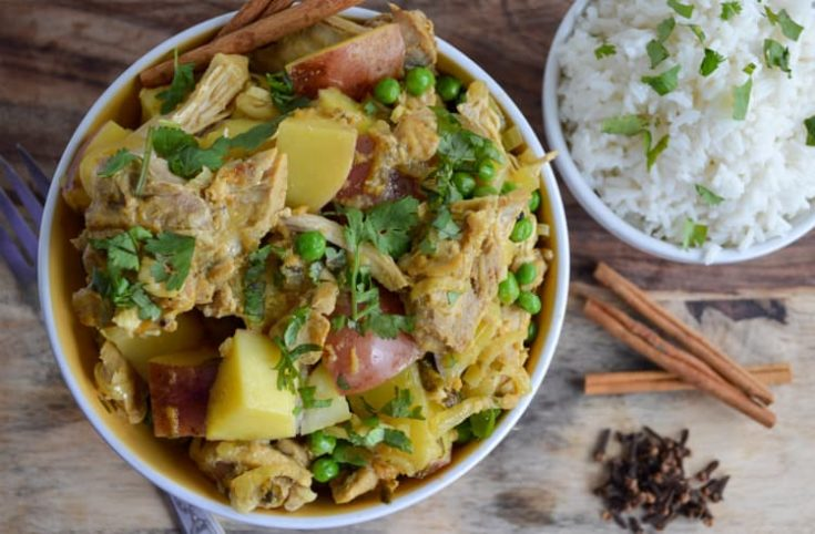 Curried Chicken with Whole Spices, Greek Yogurt, and Potatoes