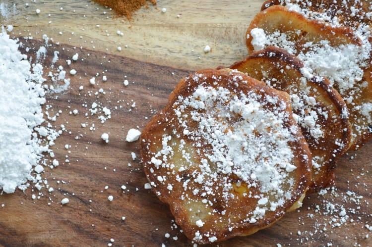 powdered sugar banana fritters