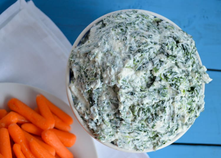 Greek yogurt spinach dip with carrots