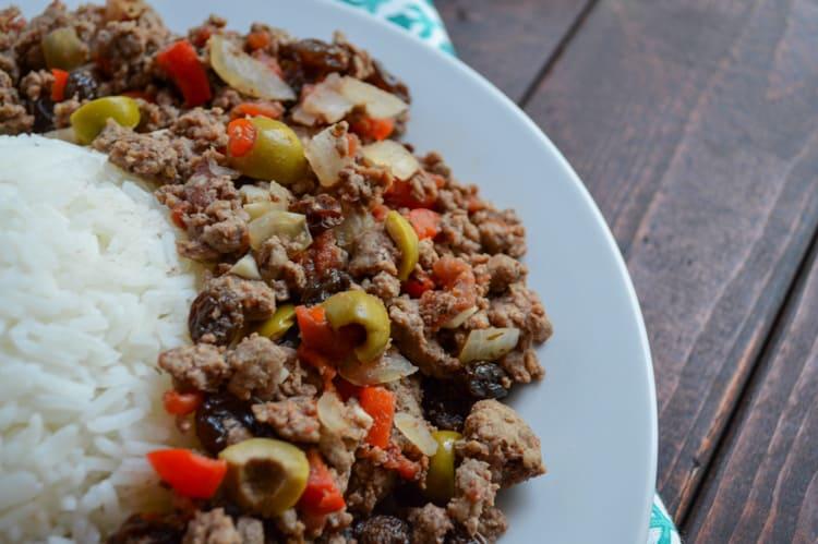 venison picadillo with rice