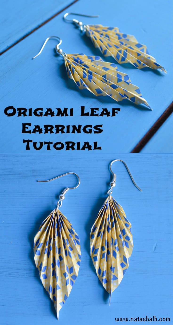 origami leaf earrings tutorial
