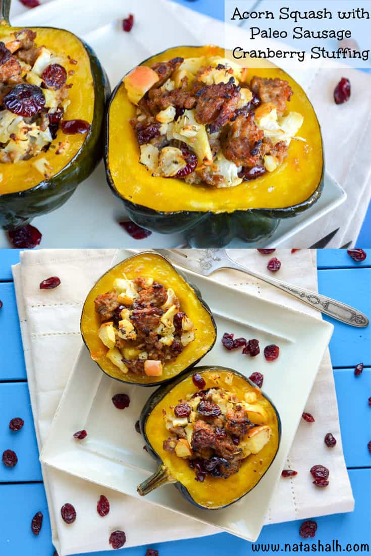 Acorn Squash With Paleo Sausage Cranberry Stuffing