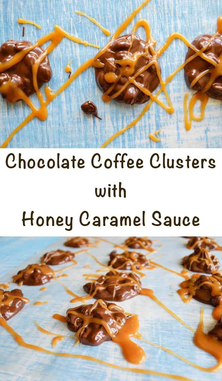 chocolate coffee clusters with honey caramel sauce