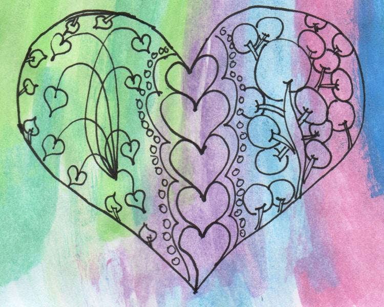 Valentine heart doodle printable
