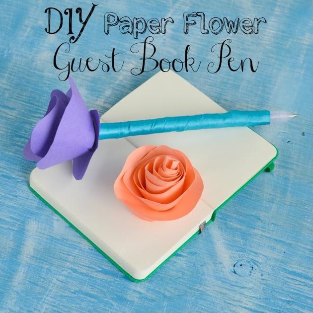 DIY Paper Flower Guest Book Pen