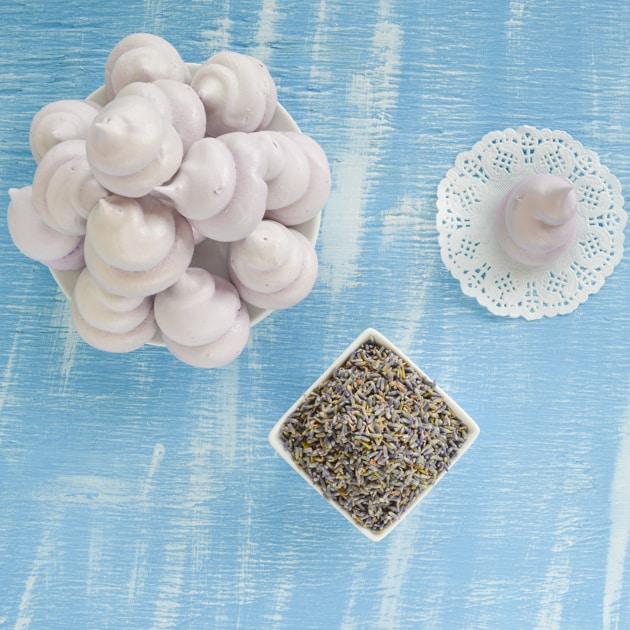 piped lavender meringues