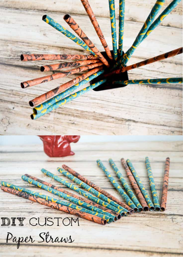 DIY custom paper straws. Easy to make, inexpensive paper straws from any scrapbook paper!