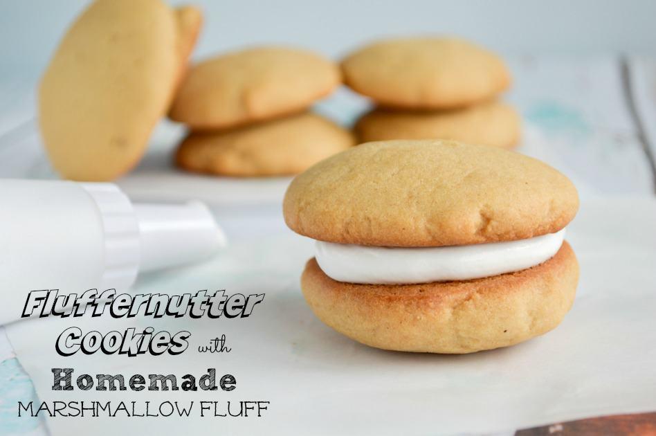 Fluffernutter Cookies with Homemade Marshmallow Fluff