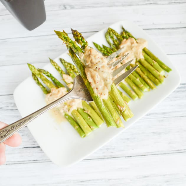 Paleo Oven Roasted Asparagus w Mustard Sauce