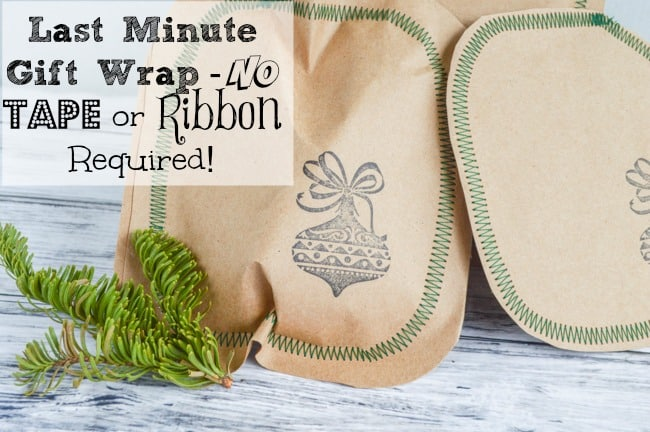Last Minute No Tape or Ribbon Gift Wrap Idea