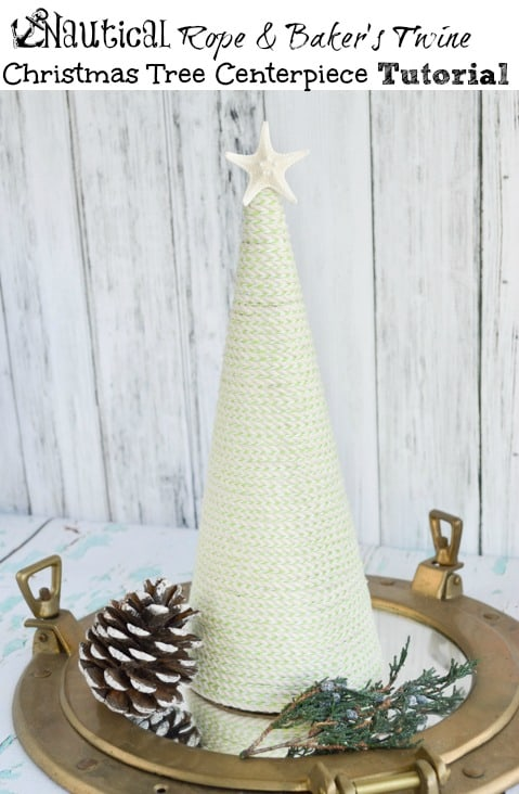 Nautical Rope & Bakers Twine Christmas Tree Centerpiece Tutorial