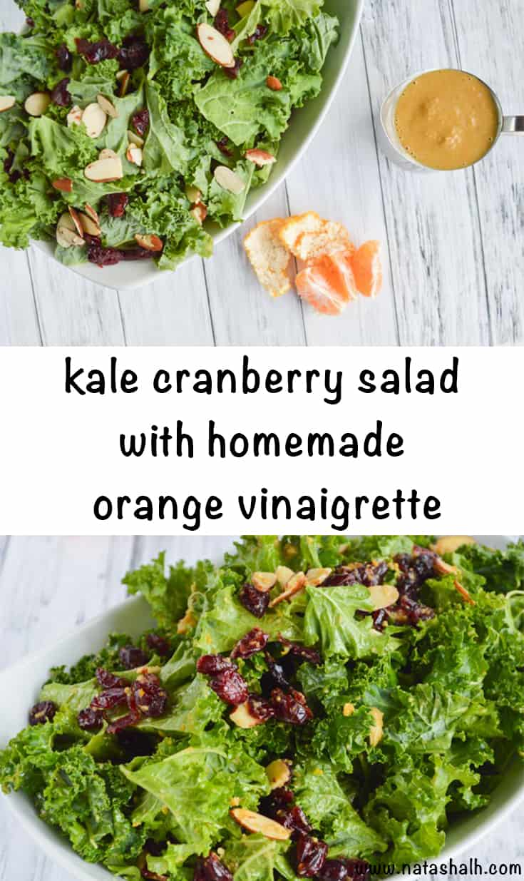 kale cranberry salad with homemade orange dressing