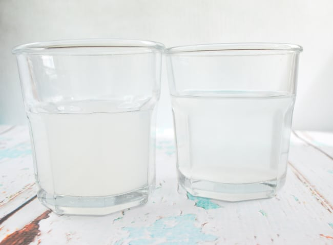 comparison of the cornstarch water