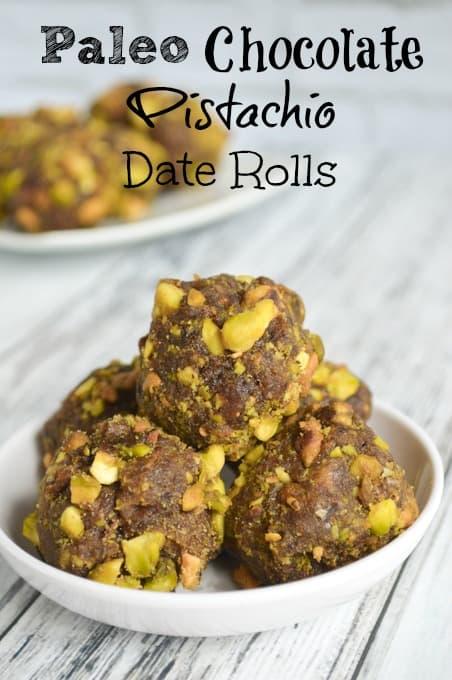 Paleo Chocolate Pistachio Date Rolls Recipe
