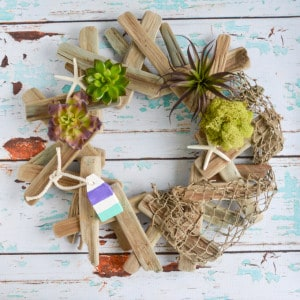 Weathered Beachy Driftwood Wreath with Faux Succulents Tutorial