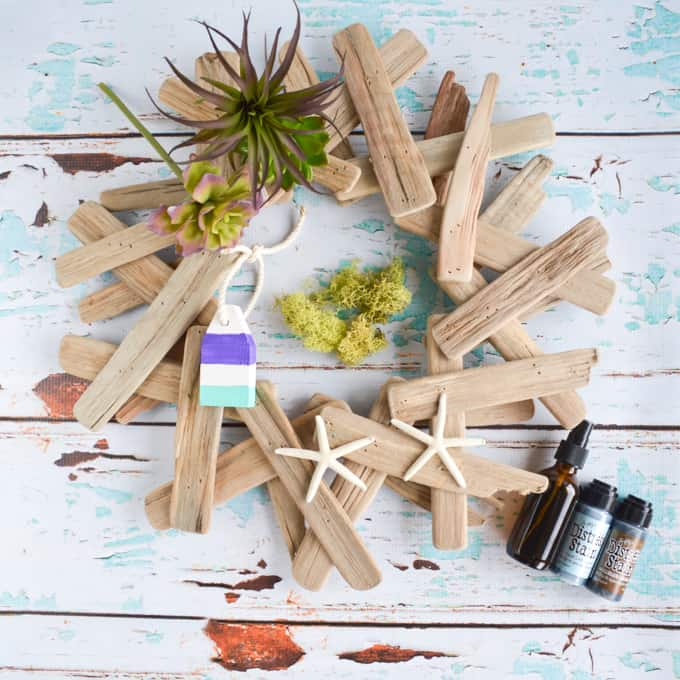materials for driftwood succulent wreath
