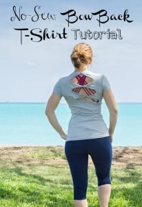 No-sew Bow Back T-Shirt Refashion Project Tutorial_
