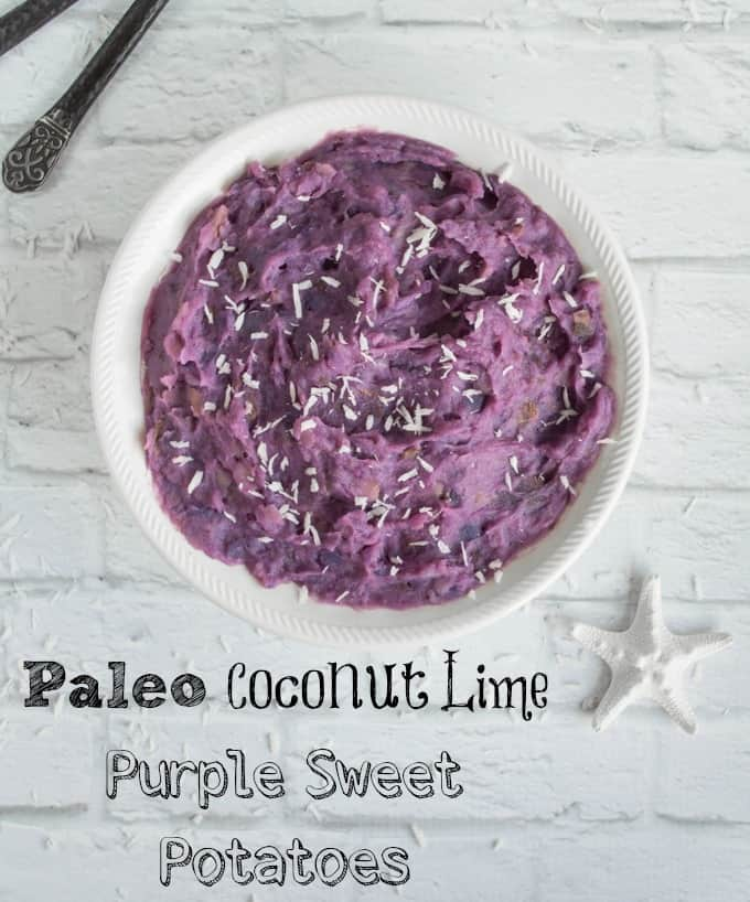 Mashed Paleo Purple Sweet Potatoes with Lime and Coconut