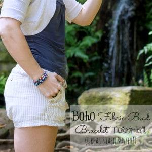 Boho Cloth Bead Bracelet Tutorial (Fabric Stash Busting Project)