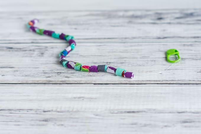 fabric bead bracelet in progress