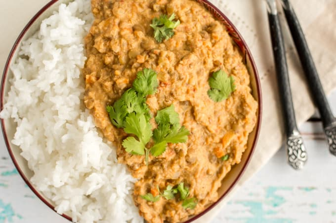vegetarian pumpkin lentil curry with Greek yogurt