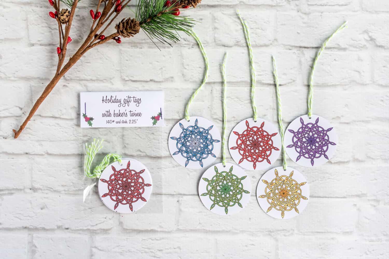 celtic snowflake gift tags
