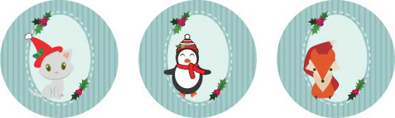cute holiday animal printable gift tags