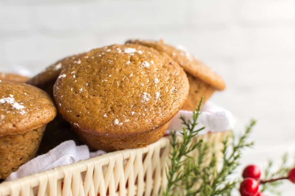 Spicy Gingerbread Muffins with Greek Yogurt