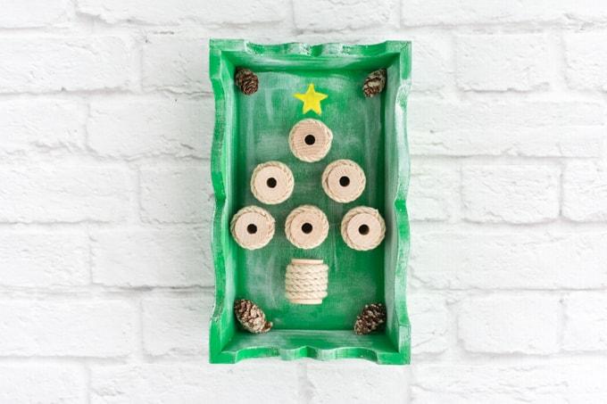 rustic christmas tree shadow box