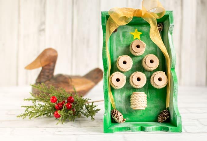 Rustic Spool Christmas Tree Shadow Box Tutorial