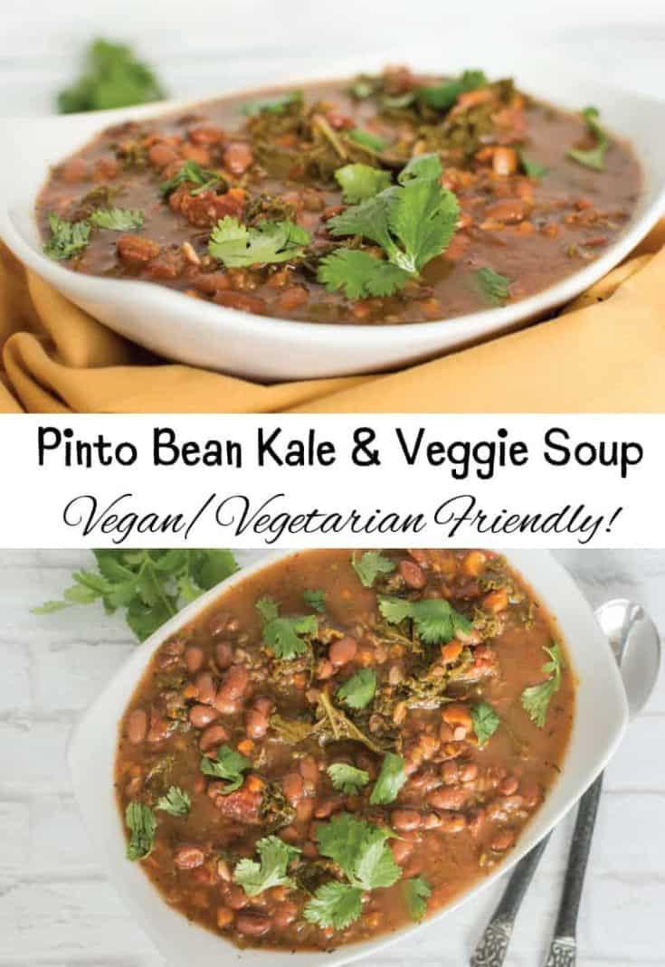 Pinto Bean Kale and Veggie Soup - Vegan/Vegetarian Friendly!