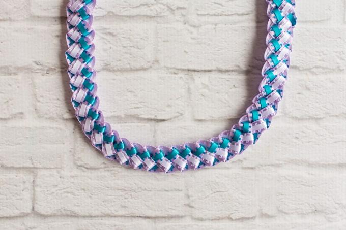 tricolor braided ribbon lei