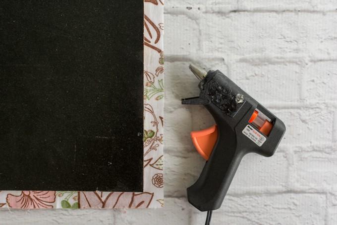 hot glue fabric in place