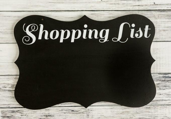 shopping list chalkboard