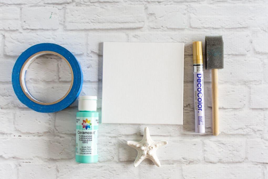 supplies for beachy art panel
