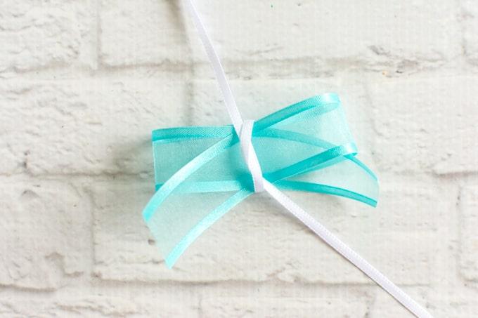 tie thin ribbon around thick