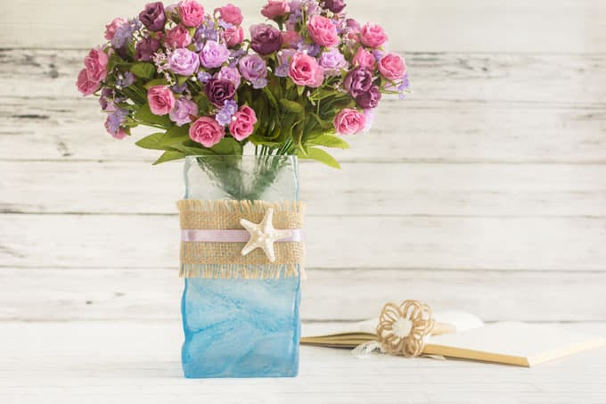 ombre painted beach vase tutorial
