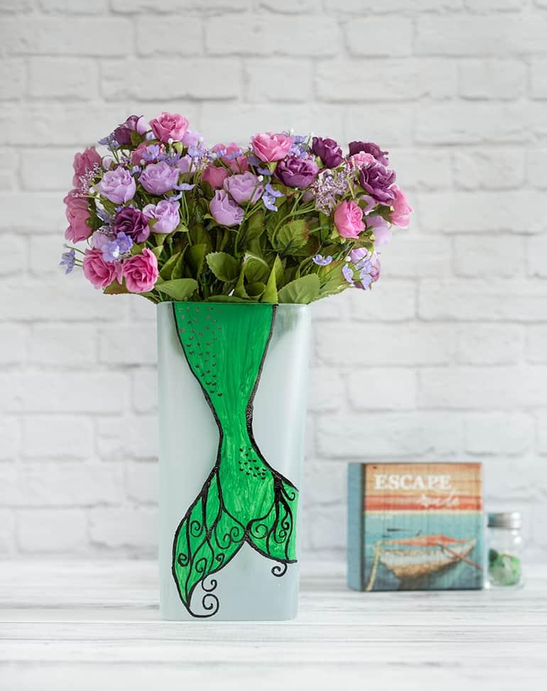 DIY painted mermaid vase