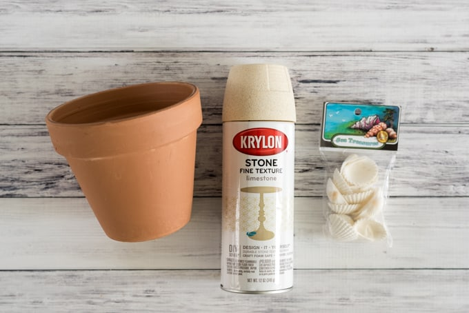 supplies for easy terra cotta pot makeover
