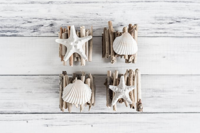 driftwood napkin rings with shells