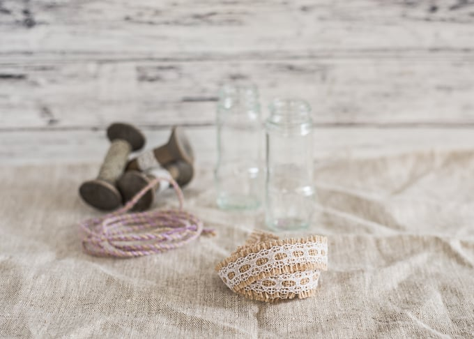 materials for upcycled spice jar vase
