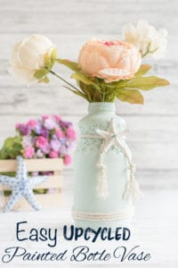 Upcycled Painted Glass Bottle Vase