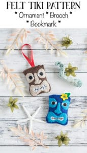 Felt TIki Ornament Brooch and Bookmark Tutorial and Pattern