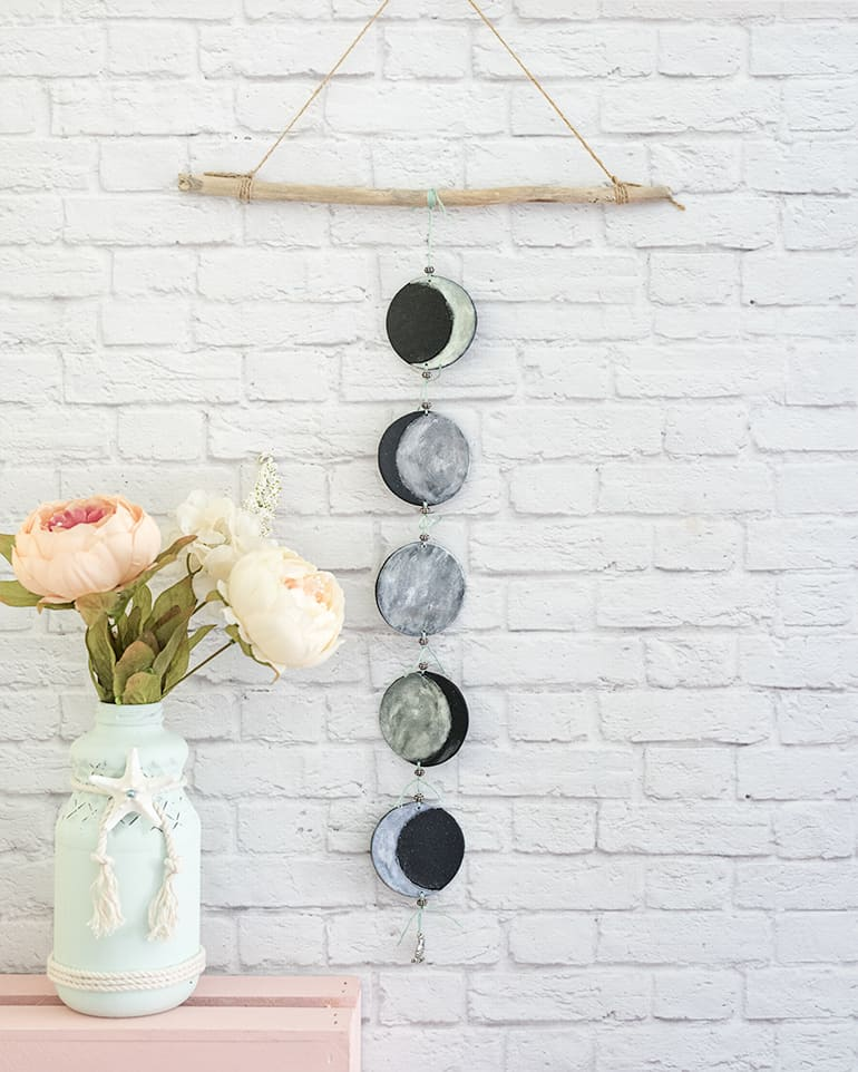easy polymer clay phases of the moon mobile tutorial