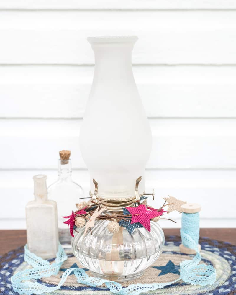 DIY frosted globe oil lamp