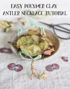 Easy Polymer Clay Antler Necklace Tutorial
