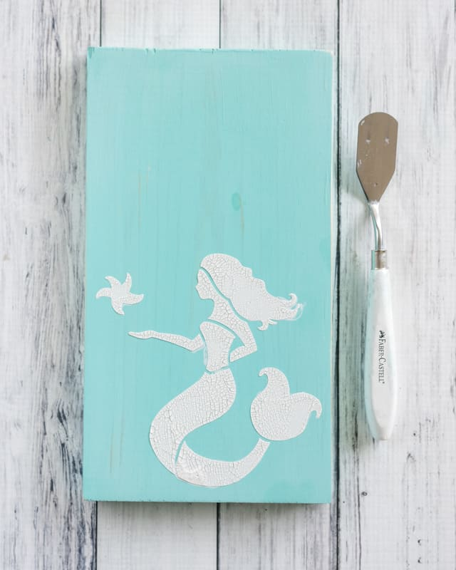 mermaid sign with crackle paint