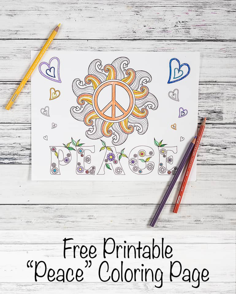 free printable peace coloring page