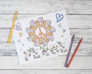hypnobabies-inspired peace coloring page free printable