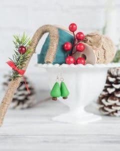 easy polymer clay Christmas tree earrings